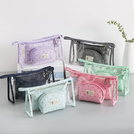 3pcs/set Women Travel Cosmetic Bag Transparent Zipper Make Up Bag Wash Kit Bag ()