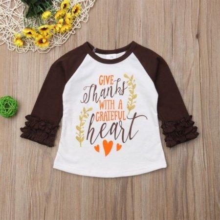 Thanksgiving Kids Toddler Baby Girl Ruffle Long Sleeve Cotton Top T-shirt Blouse