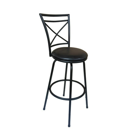 Roundhill Furniture Ciniya Round Seat Counter-to-Bar Height Adjustable 360 Degree Swivel Metal Black Bar Stool