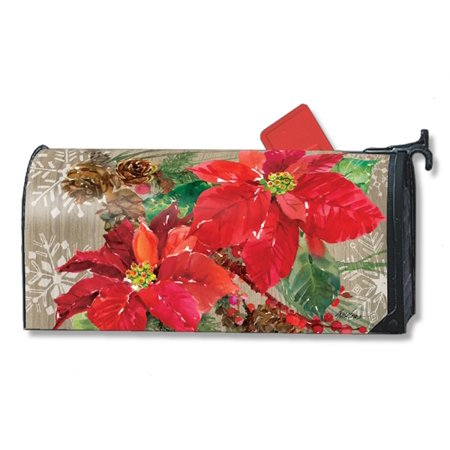 Magnet Works Poinsettia With Pine Cones Magnetic Mailbox Wrap Cover