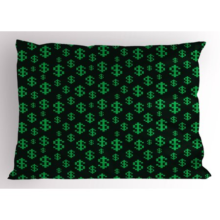Eighties Clothes Style (Money Pillow Sham Pixel Art Inspirations in Eighties Style Dollar Sign Banking Business, Decorative Standard Size Printed Pillowcase, 26 X 20 Inches, Dark Green Lime Green, by)