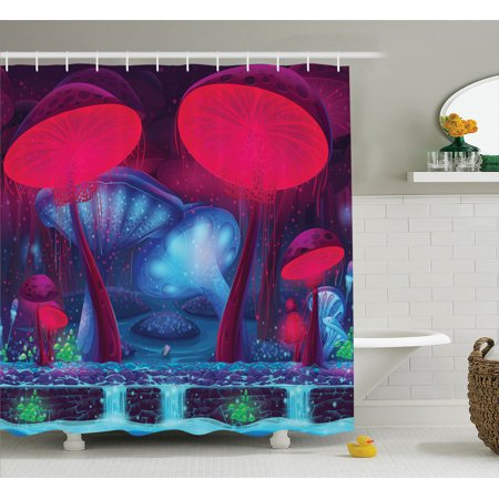 Mushroom Decor Shower Curtain Set, Magic Mushrooms With Vibrant Neon Lights Graphic Image Enchanted Forest Theme Print, Bathroom Accessories, 69W X 70L Inches, By Ambesonne for $<!---->