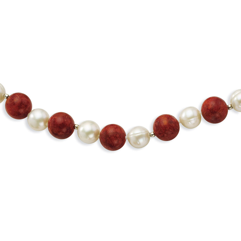 Sterling Silver 18in Freshwater Cultured Pearl & Dyed Red Coral Necklace by Kevin Jewelers