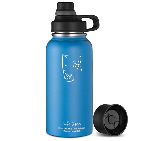 86c5d98baf Swig Savvy Bottles 30oz Stainless Steel Insulated Water Bottle Wide Mouth  BPA Free with Interchangeable Caps ...