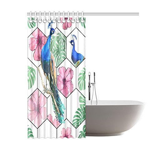 GCKG Geometric Peacocks Shower Curtain Hooks 60x72 Inches White Green Pink Fabric Tropical Watercolor Art With Hibiscus Flowers Monstera
