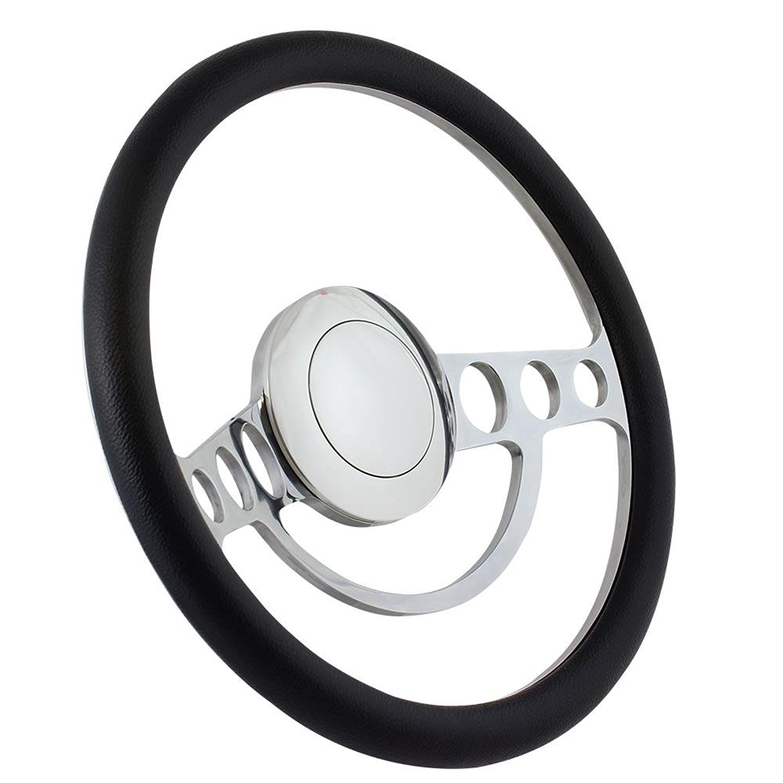 14 Inch Polished (3,5,9 Hole) Classic Steering Wheel Black Half Wrap
