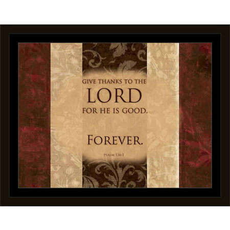 Lord Is Good Forever Psalm Traditional Distressed Panel Religious Painting Brown & Red, Framed Canvas Art by Pied Piper Creative