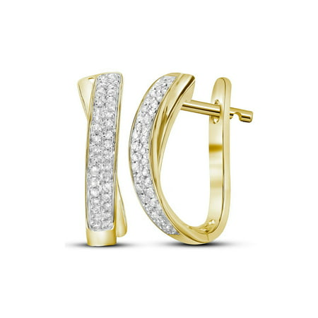 1/6 Carat (ctw I-J, I2-I3) Diamond Hoop Earrings in 10K Yellow (10k Gold Diamond Earrings)