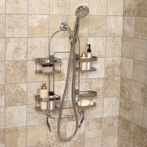 Zenna Home Expandable Rust-Resistant Chrome Large Shower Head Caddy Quality NEW