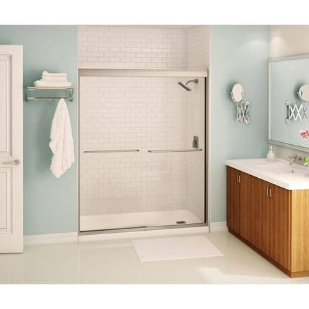 Maax 134572 900 305 000 Kameleon Semi Frameless Slider Alcove Shower Door With Clear Gl Brushed Nickel
