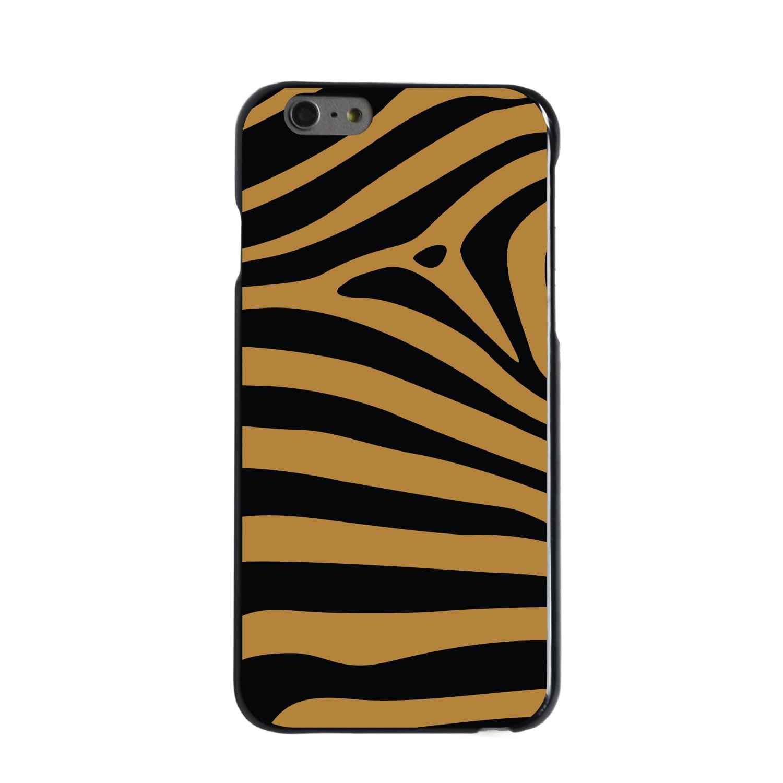 "CUSTOM Black Hard Plastic Snap-On Case for Apple iPhone 6 / 6S (4.7"" Screen) - Black Brown Zebra Skin Stripes"