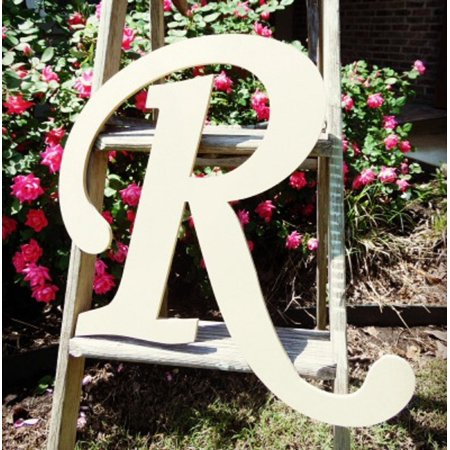 Unfinished Wooden Alphabet Letter, 24'' Monotype R, Large Unpainted
