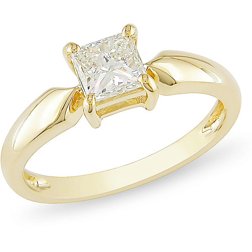 Miabella 3 4 Carat T.W. Princess Cut Diamond Solitaire Ring in 14kt Yellow Gold by