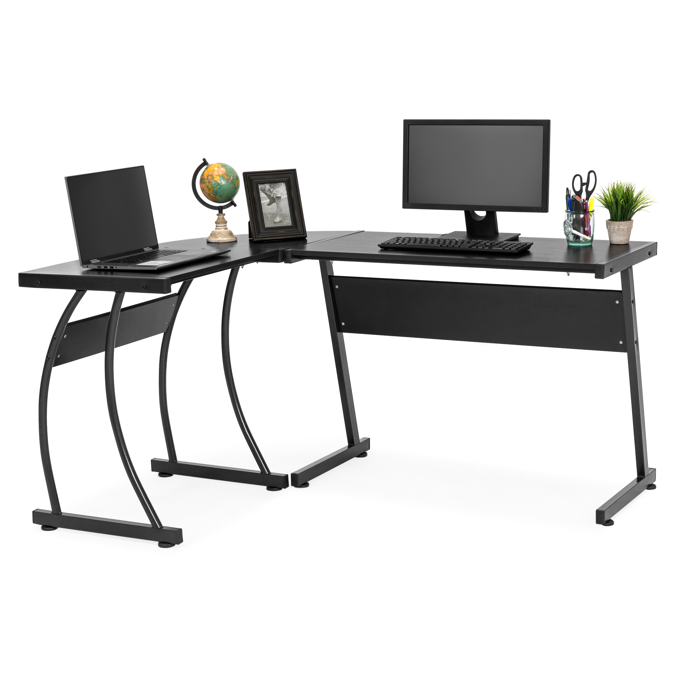 Best Choice Products 43-Piece Home Office L-Shaped Corner Computer Desk  Workstation w/ Metal Frame, Foot Pads - Black - Walmart.com