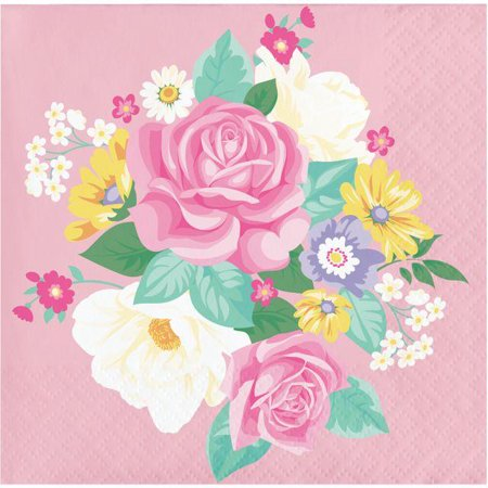 Creative Converting Floral Tea Party Beverage Napkins, 16 ct - Tea Party Party Supplies