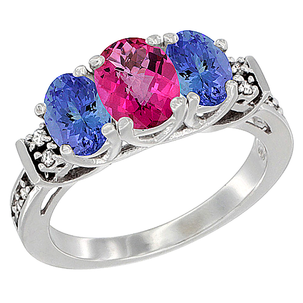 14K White Gold Natural Pink Topaz & Tanzanite Ring 3-Stone Oval Diamond Accent, sizes 5-10 by WorldJewels