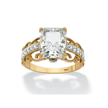 10k Gold Scroll Ring - 3.34 TCW Emerald-Cut Cubic Zirconia Scroll Ring in Solid 10k Gold