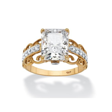 Scroll Design Ring (3.34 TCW Emerald-Cut Cubic Zirconia Scroll Ring in Solid 10k)