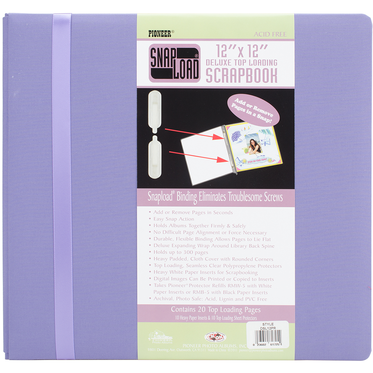 """Pioneer Snapload Scrapbook Cloth With Ribbon, 12"""" x 12"""""""