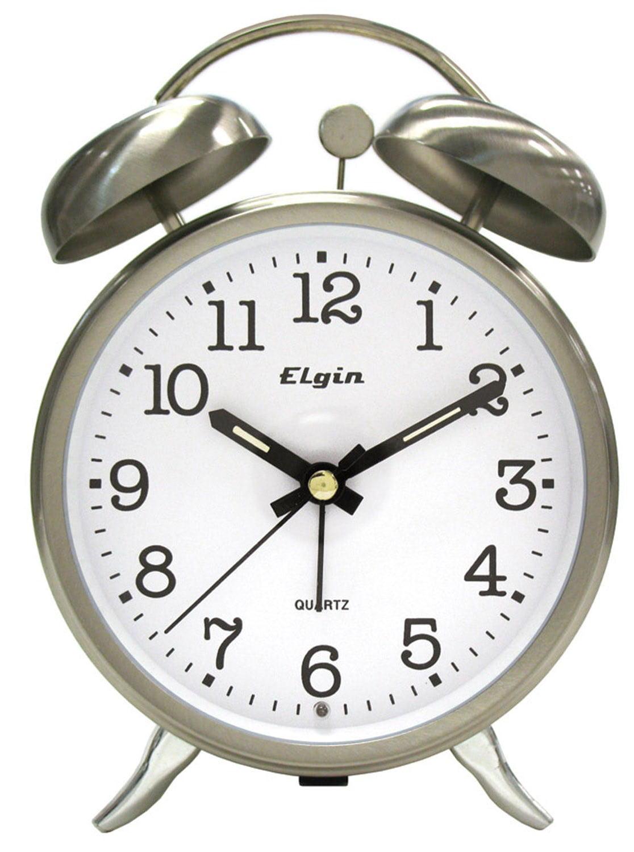 Elgin Twin Bell Pewter Alarm Clock Com
