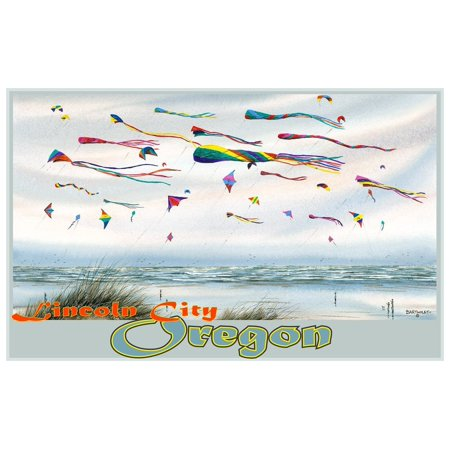 Lincoln City Oregon Flying Kites Travel Art Print Poster by Dave Bartholet (12