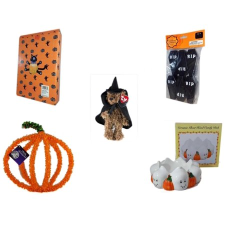 Halloween Fun Gift Bundle [5 Piece] -  Cat Pumpkin Push In 5 Piece Head Arms Legs - Tombstone Containers Party Favors 6 Count - Ty Attic Treasures