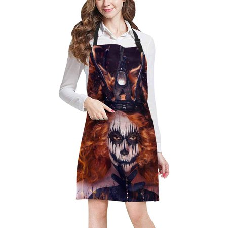 ASHLEIGH Queen of Death Scary Body Art Halloween Theme Chef Kitchen Apron, Adjustable Strap Waist Ties, Front Pockets, Perfect for Cooking, Baking, Barbequing