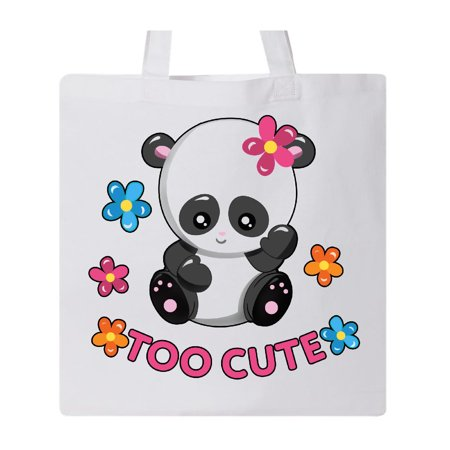 Too Cute Baby Panda with Flowers Tote Bag White One Size
