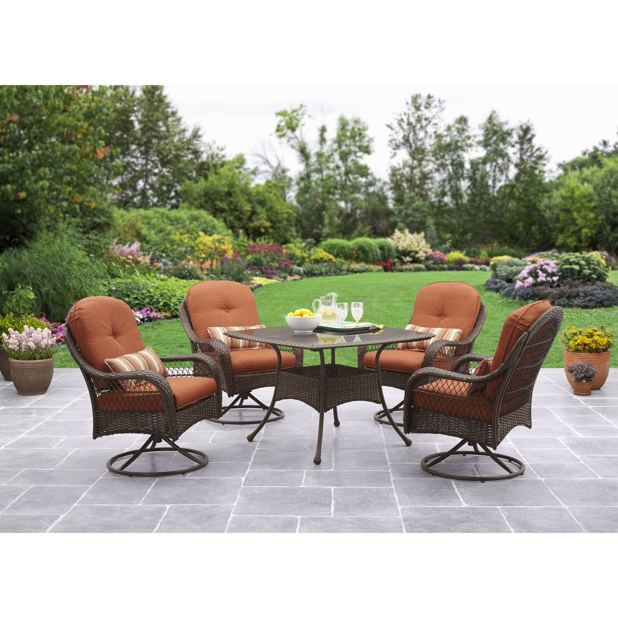 Better Homes And Gardens Azalea Ridge 5 Piece Outdoor Dining Set,  Brown/Vermillion