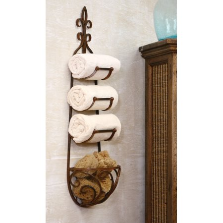 41 Fleur De Lis French Country Bath Towel Wall Rack With Basket