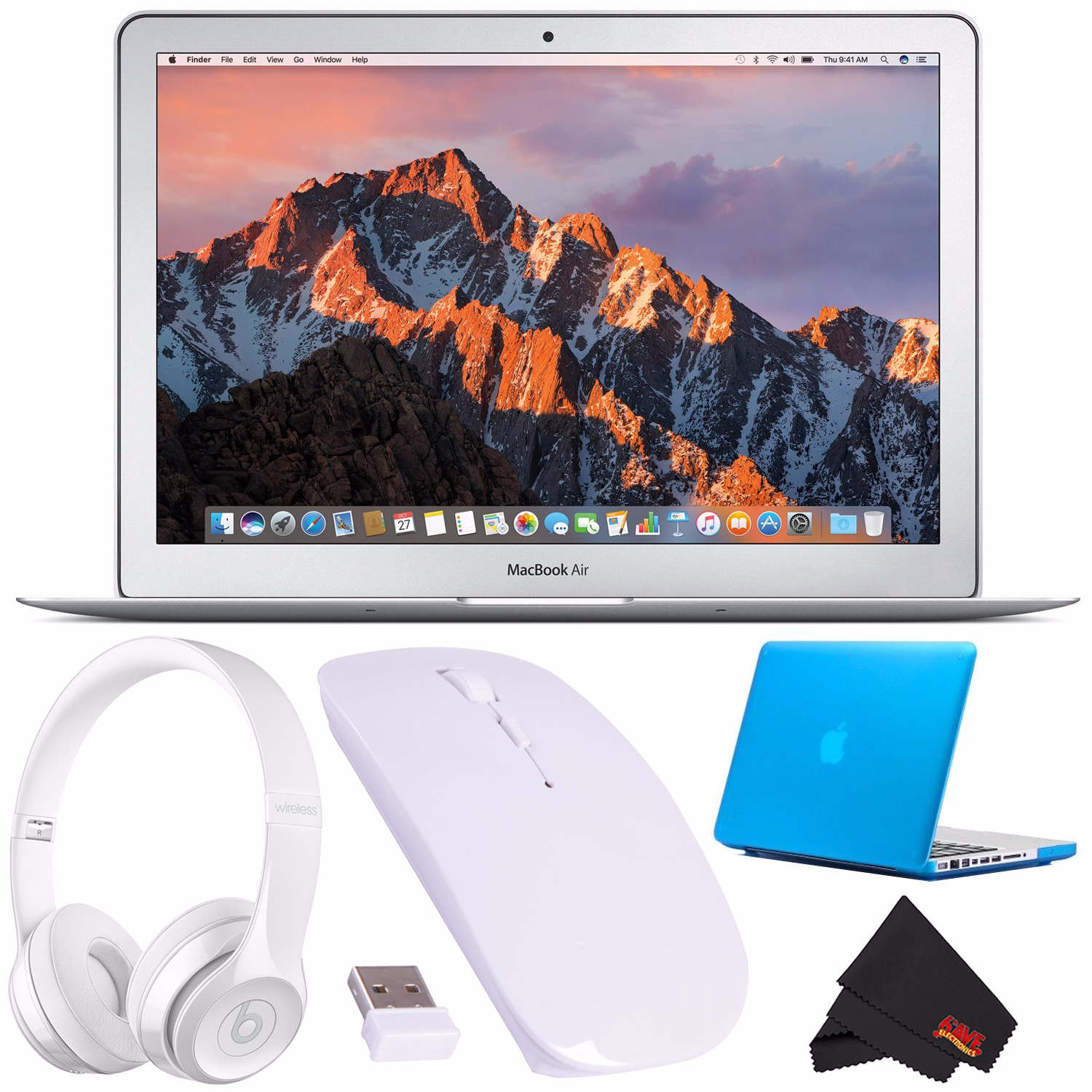 "Apple 13.3"" MacBook Air 256GB SSD + Beats by Dr. Dre Beats Solo3 Wireless On-Ear Headphones (Gloss Black) + Ultra-Slim 2.4 GHz Optical Wireless Mouse For Laptop PC Macbook (White) Bundle"