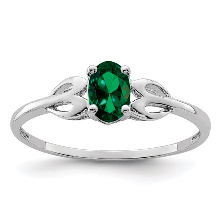 - 925 Sterling Silver Created Green Emerald Band Ring Size 8.00 Set Birthstone May Gemstone Gifts For Women For Her
