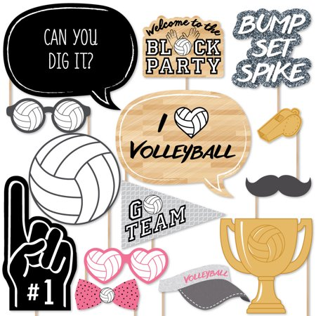 Bump, Set, Spike - Volleyball - Photo Booth Props Kit - 20 Count