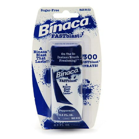 Binaca Fast Blast Breath Spray, Peppermint Flavor - 0.5 Oz, 2 Pack