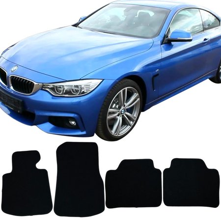Compatible with 13-18 BMW F32 4 Series Floor Mats Carpet Front & Rear Black 4PC - (Bmw 1 Series M Sport Car Mats)