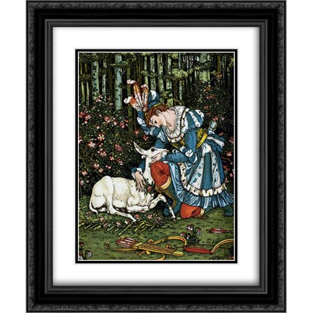 Hind in the Wood - In the Forest 2x Matted 20x24 Black Ornate Framed Art Print by Crane, Walter