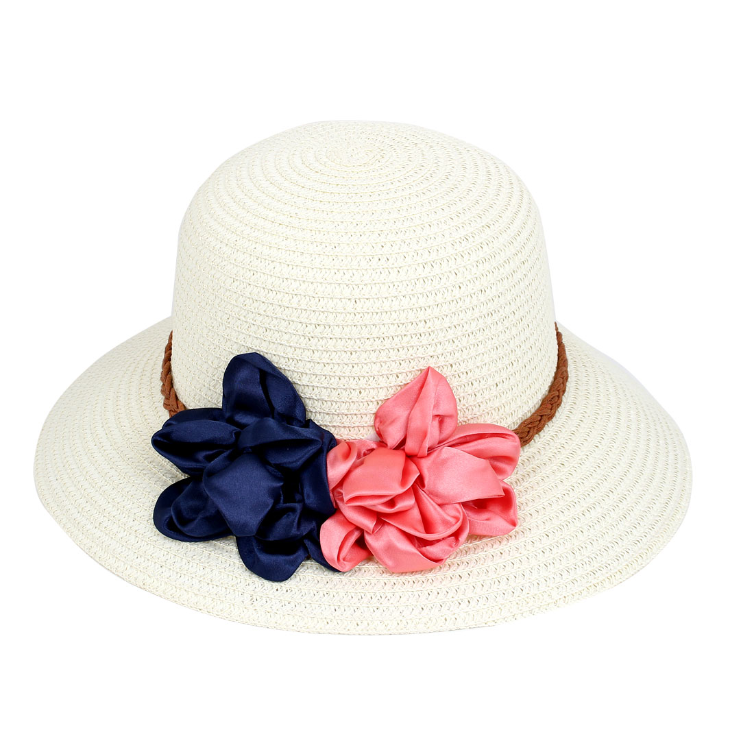 Lady Women Vacation Summer Beach Sun Floppy Wide Brim Floral Straw Hat Off  White d3d5fb64110d