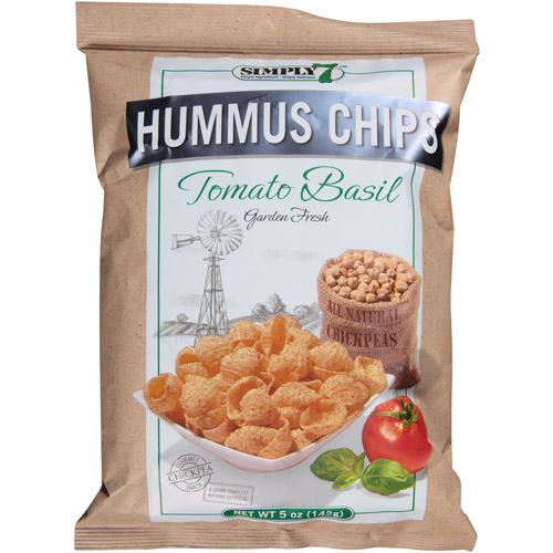 Simply 7 Tomato Basil Hummus Chips, 5 oz, (Pack of 12)