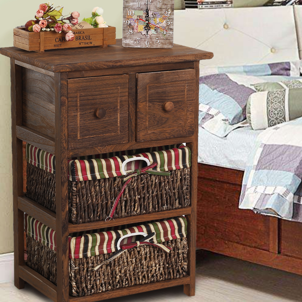Wooden Frame Wicker 2-Basket 2-Drawer Storage Unit Bed Bathroom Organizer Night Stand... by