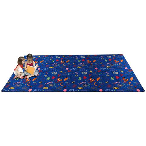 Kid Carpet Playtime Doodle Blue Area Rug