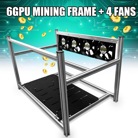Aluminum Open Air Mining Miner Frame Rig Graphics Case With 4 Led Fans For 6 Gpu Crypto Coin Eth Btc Zcash