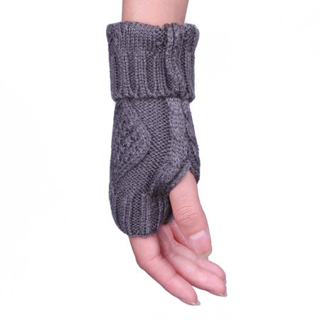 HDE Women's Fingerless Gloves Crochet Cable Knit Wrist, Hand, and Arm Warmers - image 1 de 5