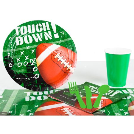 Football Frenzy Playoffs Superbowl Tableware 57pc Party Pack, Green (Dark Light Party)