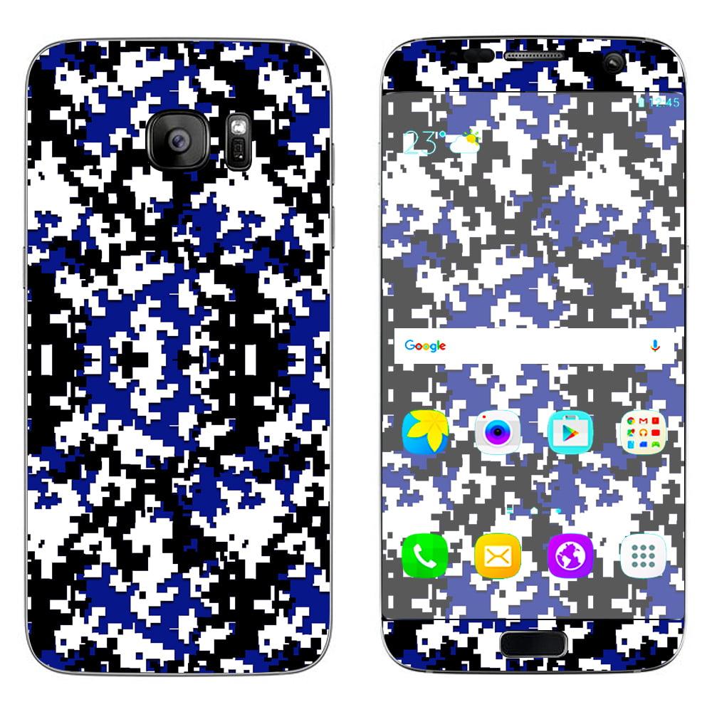 Skin Decal For Samsung Galaxy S7 Edge / Digi Camo Team Colors Camouflage Blue Black