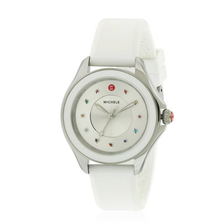 Michele Women's Cape Silicone White Analog 40mm Watch MWW27A000007