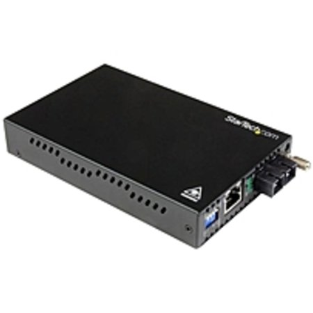 Refurbished StarTech.com Gigabit Ethernet Single Mode Fiber Media Converter SC 40 km - 1000 Mbps - 10/100/1000Base-T, 1000Base-SX/LX - Rack-mountable,