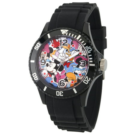 Mickey Mouse, Minnie Mouse, Daisy Duck and Donald Duck Men's Black Plastic Watch, Black Bezel, Black Plastic - Donald And Daisy Duck Halloween