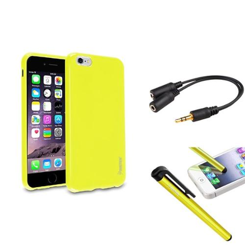Insten Yellow Jelly TPU Gel Case+Clip Stylus+Headset Headset Splitter For iPhone 6S Plus / 6 Plus 5.5""