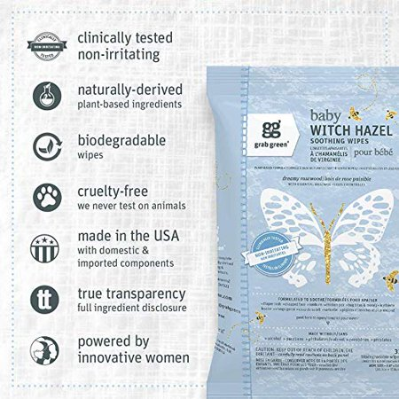 Grab Green Natural Baby Witch Hazel Soothing Wipes, Soothe Common Skin Irritations Such as Diaper Rash, No Alcohol, Plant-Based & Biodegradable (Baby Hazel Halloween Game)