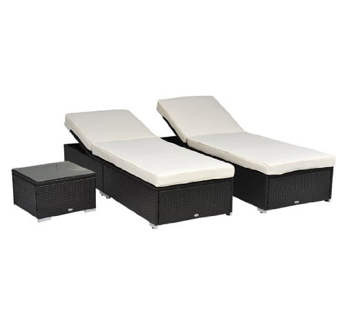 Outsunny Outdoor Patio Synthetic Rattan Wicker 3 pc Chaise Lounge Chair Set w  Side Table by Aosom